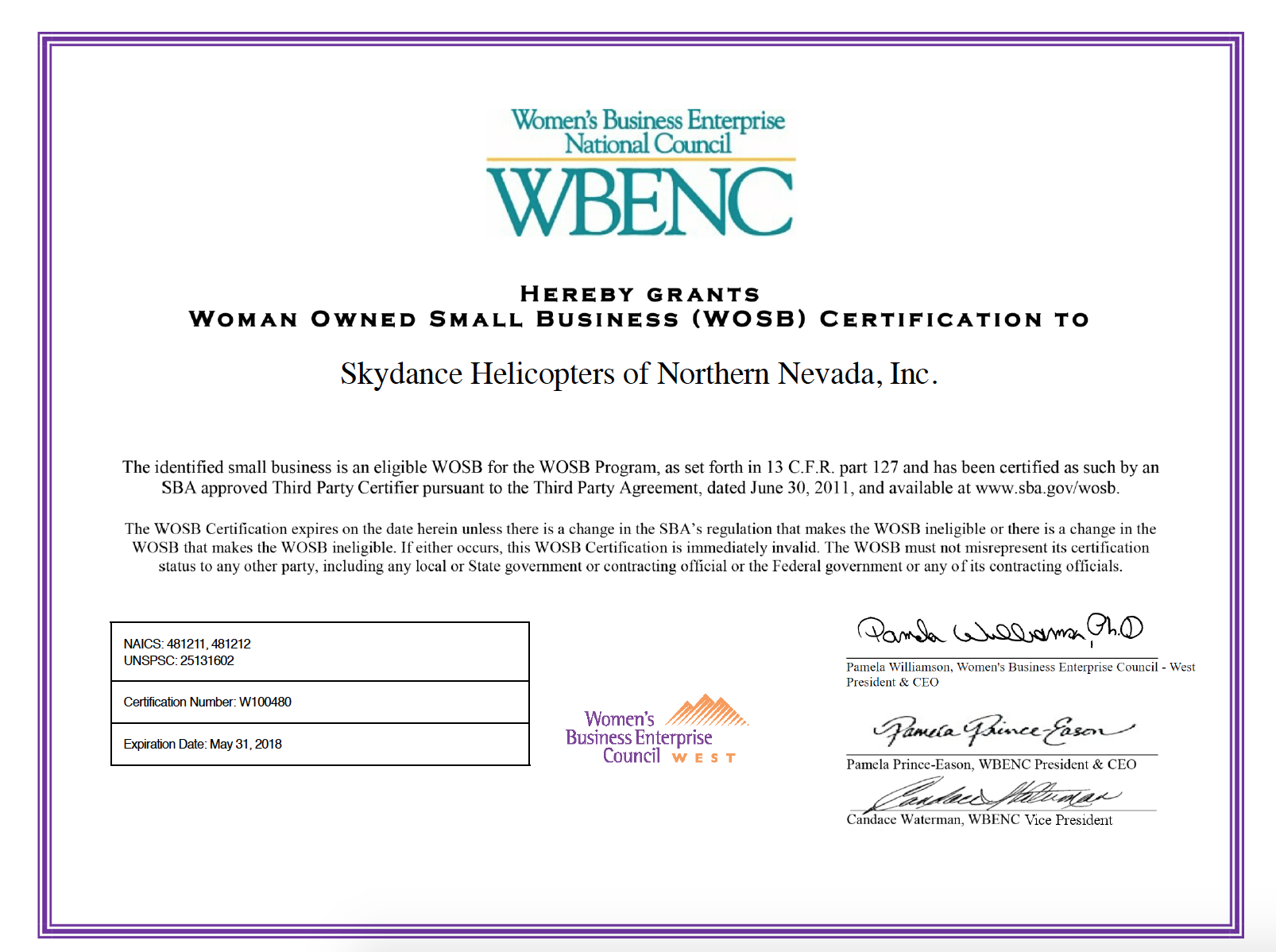 Skydance Is Now Certified As A Woman Owned Small Business